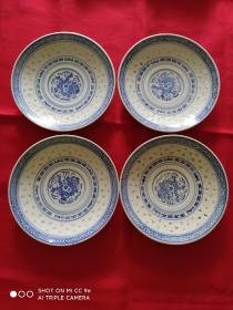 中国景德镇小米粒瓷盘(一套四只)