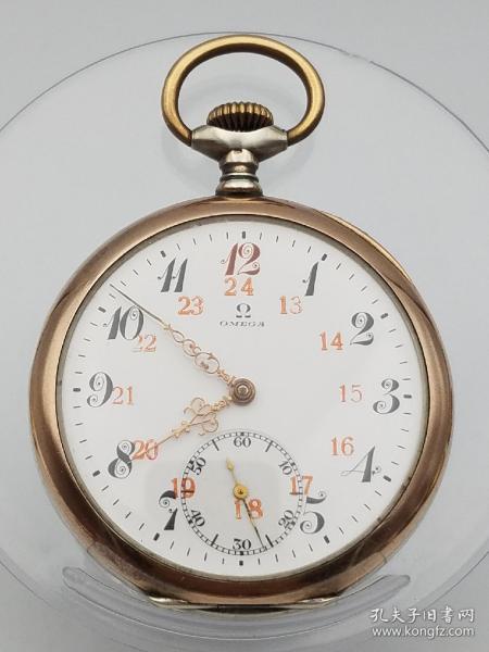 红12瑞士OMEGA开面银壳古董怀表