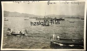 """【照片珍藏】民国1920年山东烟台海面上美军进行赛船比赛及周边场景,中间有一艘编号为""""214""""的战舰,远处为烟台山和海岸远景。老照片内容少见、时间明确,甚为难得"""