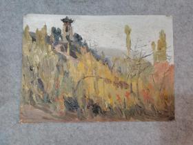七八十年代老旧油画无签名 风景 原稿真迹