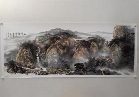 保真书画,当代山水画名家,张家界美术家协会副主席,伍文胜《小桥流水》国画一幅,尺寸70×180cm。