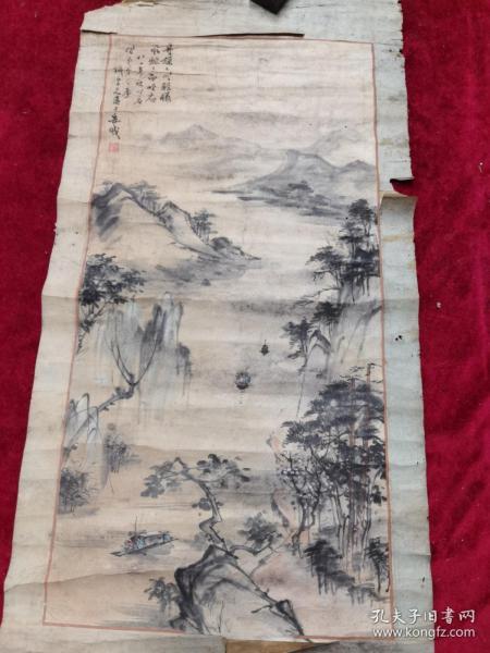 著名安岳县画家.陶炽昌、山水画原作.