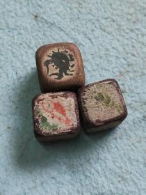 民国赌具鱼,虾,蟹木骰子三枚