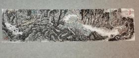 成都老画家 周老 国画山水 深山古寺 原稿手绘真迹 画心软片