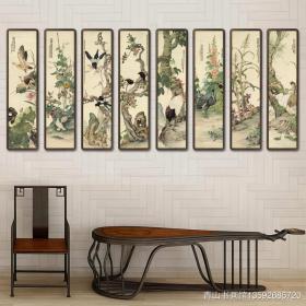 刘奎龄-花禽十二条屏。共12张,每张尺寸48.5*201厘米。宣纸艺术微喷复制。2880元包邮。画芯