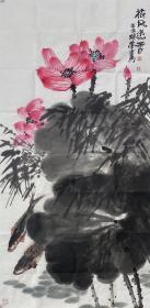 【终身保真字画】崔瑞军,137X68cm!2        1991年毕业于中央美术学院民间美术系,师从杨先让,冯真,吕胜中,方力钧等先生。2010年结业于中央民族大学崔如琢山水花鸟画高研班,师从崔如琢,王永瑞,齐建秋,梅墨生,张志永等先生。现为中国美术家协会内蒙古分会会员,中国民俗学会会员,中国行为法学会诗书画院研究员,中央民大继续教育学院画院画家。国家一级美术师,副研究员。