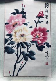 写意画《国色天香》(已经托裱),购买画的书友,赠送画家画册一本。