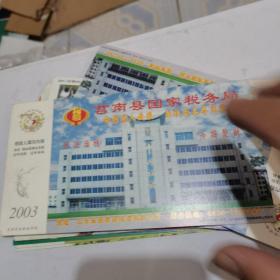 2003年中国邮政贺年(有奖)莒南县国税局企业金卡明信片-