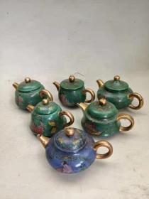 清代紫砂挂釉手绘图手把壶六把,品如图