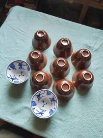 酱釉青花杯十个