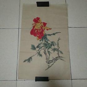 无款花鸟4平尺,,,,,仿古纸画(010)