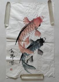 孔路作品:大鱼图(郓城美术家协会副主席,中国青美协会会员,山东美协会员)保真