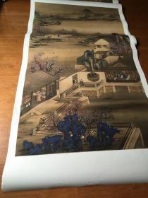 郎世宁  雍正十二月行乐图之三月赏桃。 纸本大小102*179.77厘米。 宣纸原色仿真。微喷