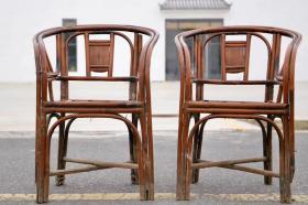 枣红皮克竹椅一对,油性包浆,全品源头尺寸:50x40x80厘米