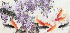 四尺紫藤鱼 横幅  黄艺老师的作品