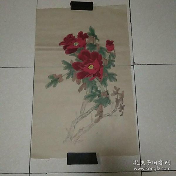 无款花鸟4平尺,,,,仿古纸画(010)
