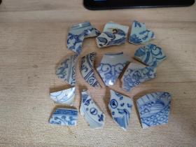 瓷片标本满百包邮,清代细路青花瓷片标本组合