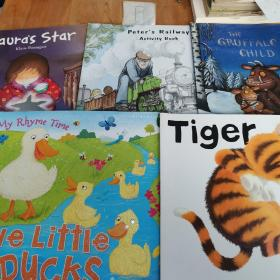 FIVE LITTLE DUCKS AND OTHER NUMBER RHYMES/TIGER NICK BUTTERWORTH/LAURA'S STAR/THE GRUFFALO'S CHILD/PETER'S RAILWAY ACTIVITY BOOK(5本合售)