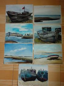 海边写生的老油画,9张合售