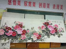 国画牡丹(长3.8米,高1.4米)