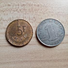 外国钱币  比利时1986年硬币(面值5)(YB6)