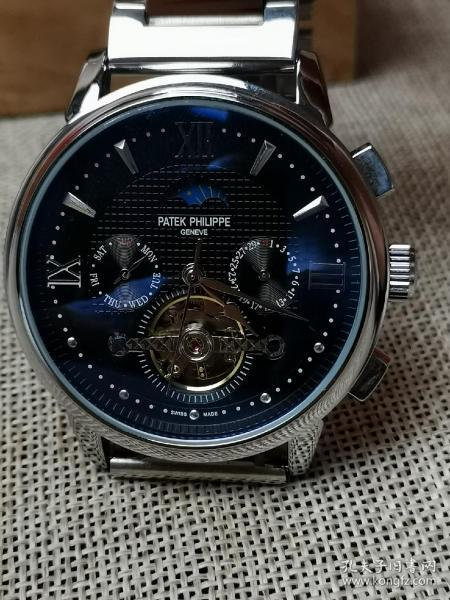 机械腕表 百达翡丽腕表 男士系列 多功能 日月星辰 黑色表盘 精钢表带 全自动机械机芯 外观时尚 走时精准