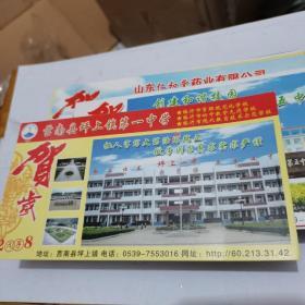 2008年中国邮政贺年(有奖)莒南县坪上镇第一中学企业金卡明信片