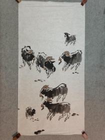 佚名国画 吉羊图 原稿手绘真迹画心软片 四尺整张