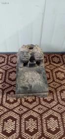 清中期:文房青石双狮砚台 尺寸:宽19长33高19