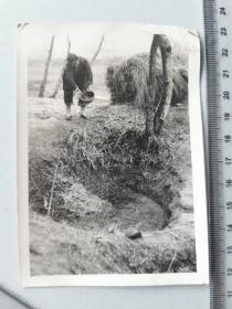 1958年前后,安徽农村缠足妇女在蓄水窖中积肥纪实原版老照片。