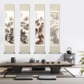 黄君璧 春夏秋冬四条屏。共4屏,每屏大小约27.2*103.3厘米。宣纸艺术微喷复制。