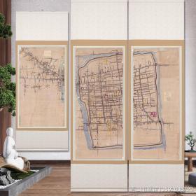 古地图1900 苏州市手稿地图。 三联。尺寸分别为88.52*194.61厘米+86.31*195.11厘米+86.87*147.94厘米。宣纸艺术微喷复制。1250元包邮 [玫瑰]整图大概如图所示。
