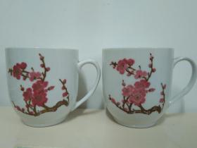 精美梅花瓷杯之一:湖南醴陵 手绘梅花瓷茶杯一对