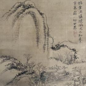 江户时期老画,小幅山水图,绢本布裱无轴头,有脱裱,画心36*22.5