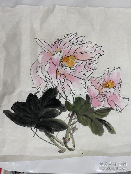 手绘写意牡丹花