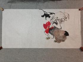 无款国画鸡 四尺整张软片 手绘原稿