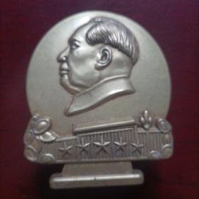 毛主席半身铜像章