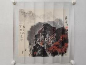 保真书画,薛金龙山水画一幅,原装裱镜心,尺寸42×46cm。