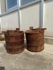 老柏木水桶一对 完整 包浆自然 包老
