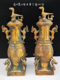 纯铜鎏金瓶一对,制作精细,工艺精湛,包浆自然,保存完整,细节如图