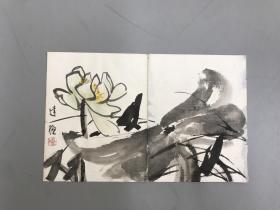 著名画家黄达聪先生国画荷花一幅 50x32cm