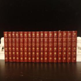 1874 La Comedie Humaine 巴尔扎克巨著《人间喜剧》17卷全(编号为1~12、14~18,中间漏掉13应该是有意为之)。装帧精致华美,3/4红色摩洛哥山羊皮精装竹节书脊,烫金书名和纹饰。品相极好。每册均有四五张整页木刻版画插图。开本22cmx14cm
