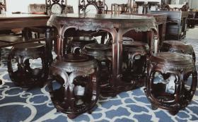 大红酸枝圆桌九件套 木材具有光泽,强度高,硬度大,是装修精品,大气上档次