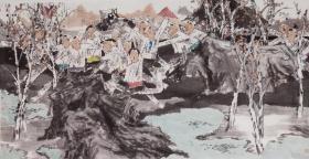 【终身保真字画,取自画家本人】 郝爱平137X68cm精品2  笔名郝歌,1956年11月生于江苏省徐州市,祖籍沛县。现为中国美术家协会会员,中国科学家画院院长,人民艺术家——中国画刊总编。2004年被国家科技奖励办评为科学与艺术--优秀人民艺术家称号。郝爱平擅长人物画,尤其喜欢以儿童题材入画,作品纯真朴实,笔墨功力扎实,具有浓郁的生活气息。