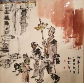 俞天红,可合影,四尺斗方 仿古人物