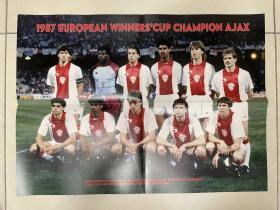 足球海报 1987欧洲优胜者杯冠军 阿贾克斯/巴斯滕