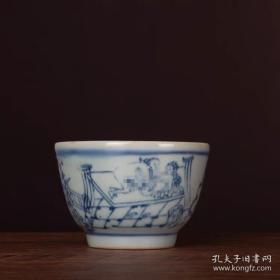 嫁妆压箱底瓷器晚清民窑青花合欢人物茶杯