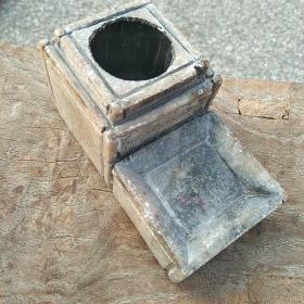民国莱州玉(滑石)老砚台。基本全品。双层设计,包浆漂亮。第二层一个有点小老磕。