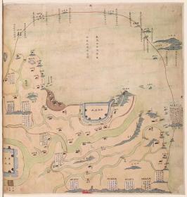 古地图1841 镇海水师营汛图 清道光21年。纸本大小55.06*57.9厘米。宣纸艺术微喷复制。