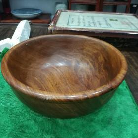红木巨碗一只,包真